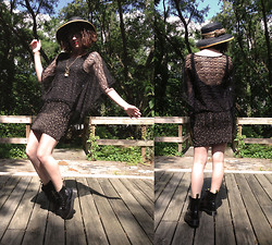 Phoebe D - Quarter Moon Imports Stevie Black Lace Poncho, Dr. Martens Black Docs, Lady Black And Gold Hat - Just be Stevie Nicks
