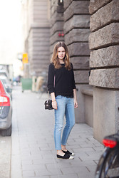 Caroline B - Valentino Bag, Chanel Espadrilles, Zara Jeans, Filippa K Knit - Two tone denim