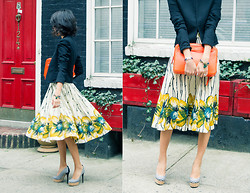 Sun J. - Girls From Savoy 50s Floral Dress, Giuseppe Zanotti Striped Cork Pumps, Céline Side Lock Clutch - Spring Blossom
