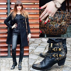 Yoschimoto - Zara Black Coat, River Island Studded Boots, Primark Leopard Print Purse, Sweewe Jumper, Michael Kors Gold Watch - BACK TO BLACK