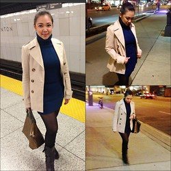 Iza Fugen - Mexx Coat, Terranova Turtleneck Dress, Mexx Earrings, Longchamp Purse, H&M Leggings, Aldo Boots - Turtleneck