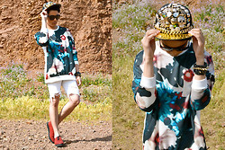 Karlson Simon Pinon - Abercrombie Distressed Shorts, Deepstyle Floral Tee, H&M Shoes, Ebay Hat, Céline Sunnies, Balenciaga Arm Candy - FLORAL BEAST