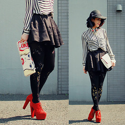 Shan Shan - Ca4la Hat, Romwe Blouse, Mussy Bag, Bebaroque Tights, Snidel Skirt - Black & white2