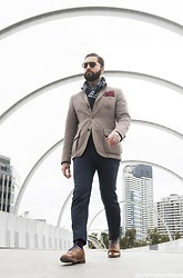 Jared Acquaro - Scotch And Soda Jacket, Oscar Hunt Cashmere/Wool Pants, Grenson Brogue Shoes, Mavericks Laces, Karen Walker Sunglasses, Cashmere Scarf, Caruso Pocket Square - Neo Dandy