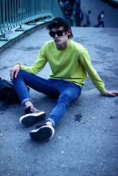 Florentin Glémarec - Vans Shoes, Cheap Monday Blue Jeans, Uniqlo Neon - Softshock