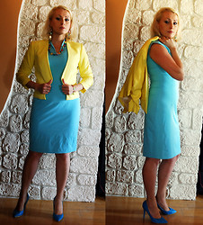 Magda Awma - H&M Jacket, Reserved Dress - YELLOW&BLUE