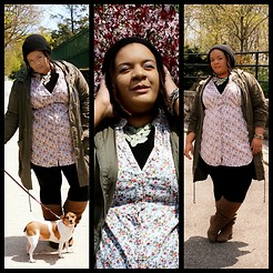 Jamila Pierre - Forever 21 Tan Tall Boots, Target Floral Dress, H&M Olive Anorak, Jackie Most Amazing Dog In The Universe - Spring Time Strolling.