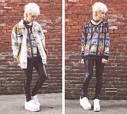 Kat W. - Romwe **$26 Birth Of Jesus Sweatshirt, Romwe Leopard Studded Denim Jacket, Forever 21 Leather Pants, Ebay Platform Sneakers - I'll Be Damned