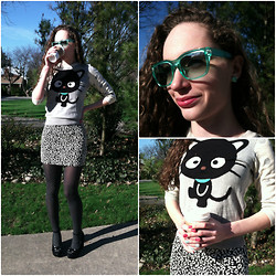 Pauline - Forever 21 Sunnies, Claire's Sweetheart Candy Earrings, Forever 21 Chococat Sweater, Forever 21 Animal Print Skirt, Shoesone Heels - Meow