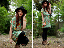 Megan G - Topshop Fedora Hat, Traffic People Tribal Print Dress, Hudson Brown Boots - I need a Spring in my step!