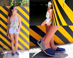 Lui Raymundo - Forever 21 Floral Top, Bazaar High   Waist Shorts, Toms Espadrilles, Nine West Sling Bag, Ray Ban Sunnies - Scorching!