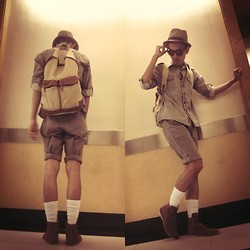 Jeront Villagomez - Yrys Khaki Shirt, The Ramp Brown Boots, Oxygen Backpack Bag - Safari Outfit Contest At Work