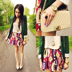 Pam S - Romwe Skirt, Sheinside Jacket - Aztec skirt