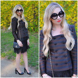 Kelly Dillon - Vintage Jacket, Express Feather Skirt, Chanel Bag, Nine West Heels - BROWN AND BLACK