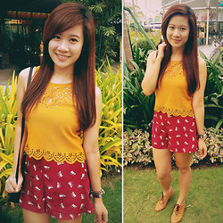 Jannelle O. - I.Candy Mustard Cropped Top, Forever 21 Kitty Print Shorts, Ichigo Brown Oxfords - Kitty Mustard