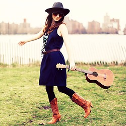 Rachel-Marie Iwanyszyn - Gap Navy Dress, Leather Hat, Love Leather Necklace, Vintage Cowboy Boots, Johnny The Ukulele, Zerouv Sunglasses - STRUMMING ALONG.