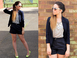 Jen Lou M - Primark Sunglasses, Miso Necklace, Miso Grey Tshirt, New Look Blazer With Elbow Patches, New Look Navy Shorts, Frontrowshop Neon Toe Cap Shoes - Molly
