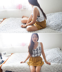 Melanie L - Fizzen Kate Moss Shirt, American Apparel Skirt, So Fluffy Bed - Genki Desu