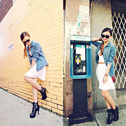 Lina Dinh - Forever 21 Life In Progress Denim Shirt, Club Monaco Strapless Dress, Sheinside Lacy Boots, Marc By Jacobs Classic Q Percy Bag, Cotton On Bracelet, Louis Vuitton Oversize Soupcon - The Denim Shirt