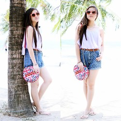 Caitlin Roxette - Forever 21 Sunnies, Fashion Cravings Uk Sling Bag, Diy Denim Shorts - Bright Day