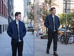 Ryan Charchian - Vince Jacket, Asos Button Up, American Eagle Denim, Dr. Scholl's Wingtip Boots - Walk About Town