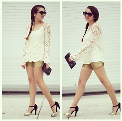 Daniela Ramirez - Goodnigh Macaroon Lace Top, By Smith Gold Shorts, Shoedazzle Shoes, D'andrea Clutch - Gold and lace