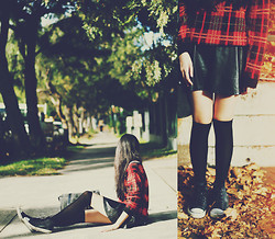 Amanda Mabel - Plaid Sweater, Leather Skirt, Black Knee High Socks, Converse Grey High Top, Satchel - Tartan + Leather + Knee Highs