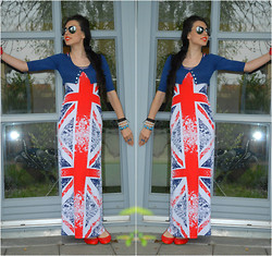 Milena Vitanova - No Branded Union Jack Dress, Stradivarius Short Cardigan, Zara Spikes Flats - Union Jack Maxi Dress