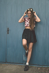 fredrikah ▲ - Second Hand Tie Dye Crop Top, Sheinside Creepers, Second Hand Skirt -  hi spring