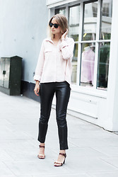 THEFASHIONGUITAR - - Ray Ban Sunglasses, H&M Shirt, Sara Berman Leather Pants, Céline Heels - Chained