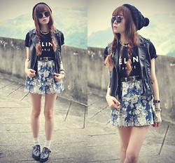 Tess Lively - Sheinside Tee, H&M Leather Vest, Frontrowshop Floral Skirt - Unfailing Love
