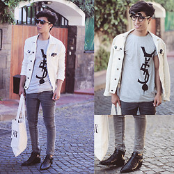 Ayoub Mani - Sunglasses, Tshirt 5preview, Cheap Monday Jeans, Bag Souve, Choies Boots, Jacket - Dud idon't Realy Care