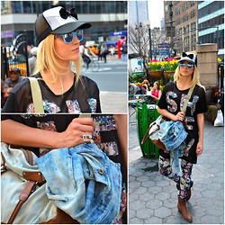 Malin Lagerqvist - Quiksilver Cap, Forever 21 Sunglasses, Diesel Jacket And Bag, H&M Top And Leggings, Ash Footwear Boots - Herald Square, New York