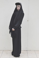 Gwendal P. - Romwe Studded Cap, H&M Black Shirt, New Look Black Long Skirt, Asos Platform Shoes - Realness