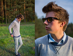 Daniel Smandzik - Hugo Boss Blue Shirt, Zara Sweater, Asos Skinny Jeans, Lacoste Shoes, Ray Ban Wayfarer - Summer's comming