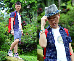 Nick C - Zara Cotton Panama Hat, H&M Bead Bracelets, Uniqlo Blue Polka Dot Shirt, H&M Red Backpack, Lee Denim Patchwork Hi Tops - Lost in Wonderland