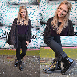 Samantha McLean - Luchiny Patent Bootie, Thrifted Vintage Cardi, Thrifted Vintage Tee, Levi's® Levis - The Patent Bootie