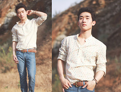 Ivan Lam - Zara Paisley Top, Levi's® Jeans, Plaited Belt - The world is a drought when out of love