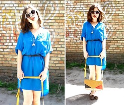 Nika Y - Pearl Round Fashion Sunglasses, Bag, Next Dress, Asos Loafers - BLUE