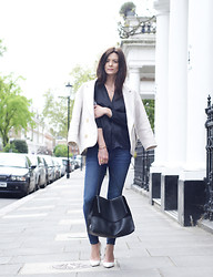 Hedvig ... - J Brand Jeans, Topshop New Silk Blouse, Isabel Marant Jacket, Saint Laurent Shoes, Céline Bag - Staples