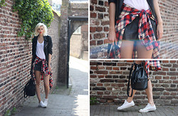 Sietske L - Monki Checked Shirt, Samsoe White Tee, Episode (Vintage) Leather Shorts, Minusey Jacket, H&M Bag, Converse Shoes - Wrap it