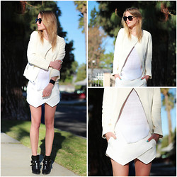 Raspberry & Rouge - Blazer Jacket, Zara Skort, Zara Boots - WHITE ON WHITE