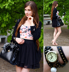 Ariadna Majewska - Romwe Floral Retro Bralet Top, Chic Wish Black Skirt, Insane Jungle Black Jacket, Madamlili Angel Wings Black Studded Wristwatch, Udobuy Black Elegant Bag With Bow, Asos Beige Heels - Studded watch