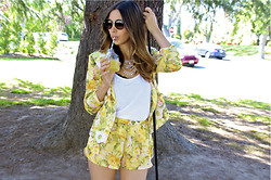 Sivan Ayla Vardi - Lovers + Friends Woodstock Shorts, Lovers + Friends Wine & Dine Blazer, Raen Optics Glasses, Daftbird Tank, Adia Kibur Necklace - Lemonade