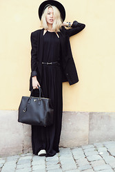 Miu N - Zara Dress, Tiger Of Sweden Hat, Prada Bag, H&M Blazer, Monki Belt - Black & Yellow