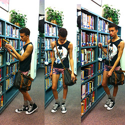 ♡Austin Smith♡ - H&M Winged Angel Of Death Tank, Vintage Beige Socks, Converse Black High Tops, Brown Leather Satchel, Pink Distressed/Bleached Shorts - Winged Angel of Death