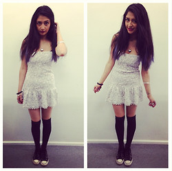 Heba E - The Kooples Dress, Converse, Urban Outfitters Glittery Black Knee Highs - Knee highs and lace.
