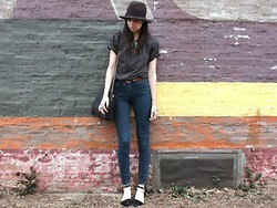 Caylee M. - Forever 21 Hat, Ray Ban Sunglasses, Thrifted T Shirt, Vintage Belt, Madewell Jeans, Zara Bag, Shoes, Michael Kors Watch - Never let you go.