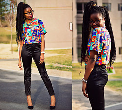 Stephanie Ukpere - Thrfted Blouse, H&M Ankle Pants - I Told You I'd Be Back