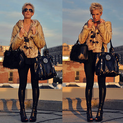 Camille K. - Faux Fur Coat, Faux Fur Purse, Faux Leather Purse, American Apparel Faux Leather Leggings, Patricia Field Faux Leather Shoes - Just faux fun.